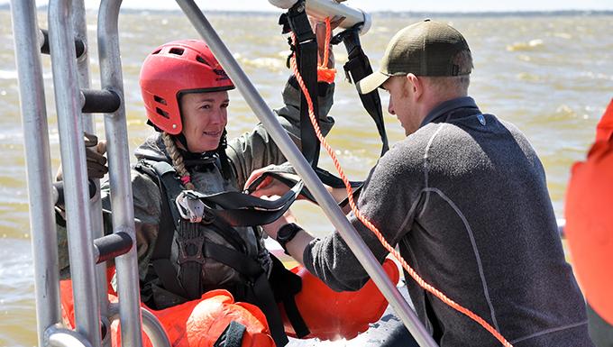 Aircrews undergo water egress, survival refresher